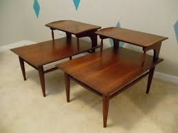 mid century end table mid century modern walnut step end tables by bassett at epoch