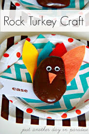 thanksgiving crafts make rock turkey place holders