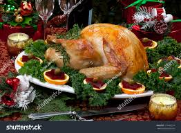 thanksgiving dinner gifts christmasdecorated table feast gifts roasted turkey stock photo