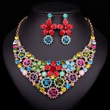 pendant necklace earring images Colorful flower pendant necklace earrings bridal jewelry sets jpg