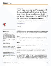 family meal frequency and association with household food