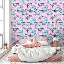 20 Best Removable Wallpapers Peel by Tropical Removable Wallpaper With Palms Pink Temporary Wall