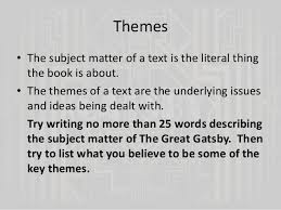 themes and ideas in the great gatsby the great gatsby chapters 4 and 5