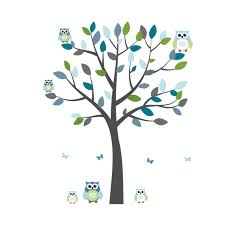 gray and blue owl stickers with large tree decal for kids gray and blue owl tree wall decal with tree wall murals for kids