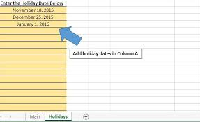 calculate the count of workdays between two dates using vba in