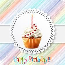 Birthday Card Ai Birthday Card Vector Design With Cupcake Illustration Free Vector