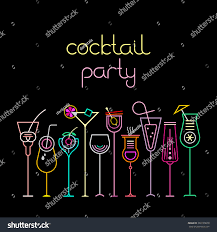 neon colors on black background cocktail stock vector 383199670