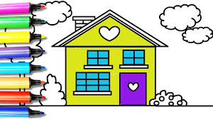 how to draw and color the house coloring page for kids youtube