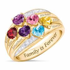family birthstone rings precious hearts personalized birthstone diamond family ring