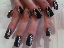 glamorous border nail art with swarovski crystals youtube acrylic