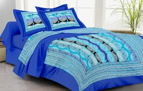 lali prints blue mughal art 1 single bedsheet with 2 pillow covers