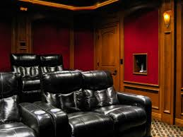 home theater wall home theater with wood paneling and acoustical fabric wall