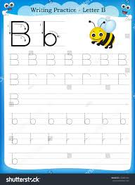 preschool lined writing paper writing practice letter b printable worksheet stock vector writing practice letter b printable worksheet for preschool kindergarten kids to improve basic writing skills