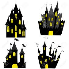 set of halloween black castle with yellow windows vector