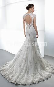 scalloped sweep train short sleeve backless mermaid lace wedding