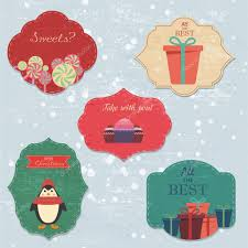 christmas set with notes stickers labels with winter and