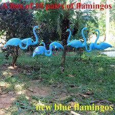 Diy Lawn Ornaments 10 Pairs Blue Plastic Lawn Flamingos Decorative Arts And Crafts