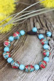 turquoise bead bracelet images Traditional tibetan and turquoise bead bracelet thedharmashop jpg