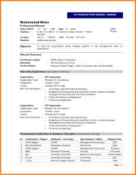 Professional Resume Format For Fresher by Resume Format Freshers
