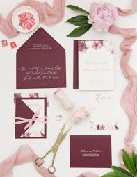 wedding invitations floral blush and wine floral wedding invitation o brien design