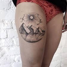 linework mountain thigh tattoo tattoos pinterest thighs