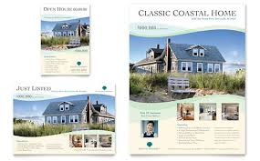 free real estate flyer templates coastal real estate flyer ad template design