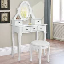 Antique White Bedroom Vanity Furniture White Vanity Set With Stool Made Of Wooden With Saber