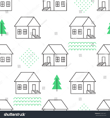 seamless pattern country houses vector illustration stock vector