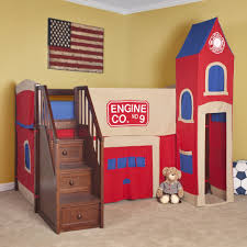 Castle Bunk Bed With Slide Cheerful Bright Color Castle Bunk Beds With Slide And Stair In