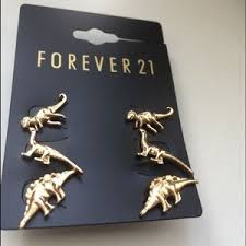 dinosaur earrings forever 21 jewelry sold new forever 21 gold dinosaur earrings