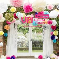 wedding home decor free shipping 5pcs 10cm 4inch tissue paper flower ball pom poms