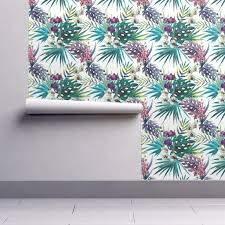 topical hawaii watercolor orchid flowers pineapple wallpaper by