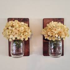 rustic set of two mason jar wall sconces country decor wall hanging