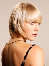 full forward short hair styles short blonde textured bob with long fringe side view top hair