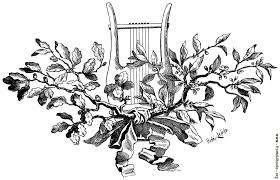 tailpiece ornament harp with oak leaves and mistletoe