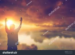 christian thanksgiving silhouette man hands rise on beautiful stock photo 444956425