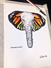 elephant butterfly flash watercolor and pen watercolor
