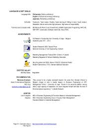 Sample Resume Language by Curriculum Vitae Soft Skills Contegri Com