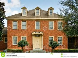 Colonial Style Home Plans Red Brick Colonial Style Home Royalty Free Stock Photography