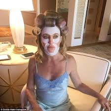 forced to wear hair rollers goldie hawn is hilarious in snap of her beauty regimen daily