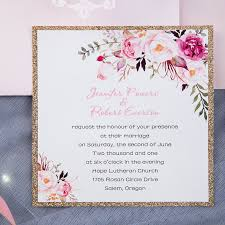 wedding invitations images blush pink flower glittery laser cut pocket