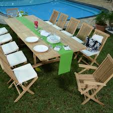 m chaises salon de jardin en teck ecograde thira table extensible 2 à 3 m