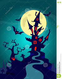 halloween background images haunted house on night background with a full moon behind vector
