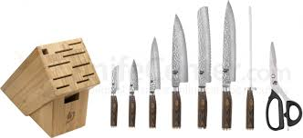 gourmet kitchen knives shun tdms0900 premier 9 piece gourmet bamboo block set knifecenter