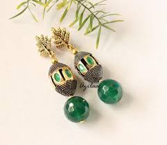 emerald green earrings emerald green earrings antique gold plated earrings online in