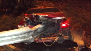 car crashes after occupants take turns pulling emergency brake on