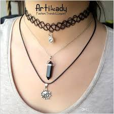tattoo chokers necklace images 2018 hot multi layer tattoo choker necklace fishing thread weave jpg