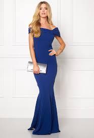 goddiva bardot fishtail maxi dress royal blue bubbleroom