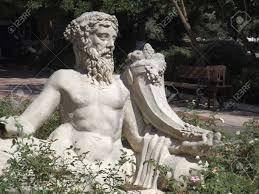 statue of the greek god dionysus at ephesus turkey stock photo
