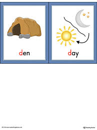 letter d words and pictures printable cards den day color